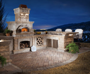 Outdoor living components designed and manufactured by Harmony for Belgard Hardscapes.